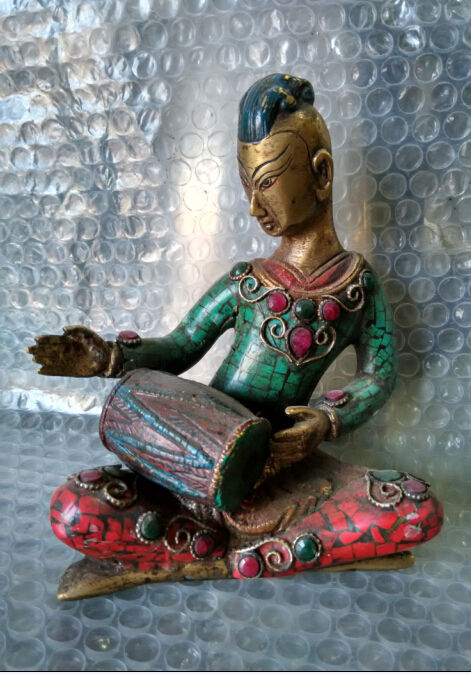 17 cm *high Tibetan Buddhism copper inlaid turquoise singing in China17 cm *high Tibetan Buddhism copper inlaid turquoise singing in China