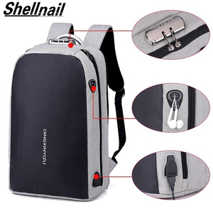 Image 1 - Shellnail حقيبة كمبيوتر محمول مقاومة للماء حقيبة السفر متعددة الوظائف مكافحة سرقة حقيبة للرجال الكمبيوتر على ظهره USB شحن لماك بوك باد