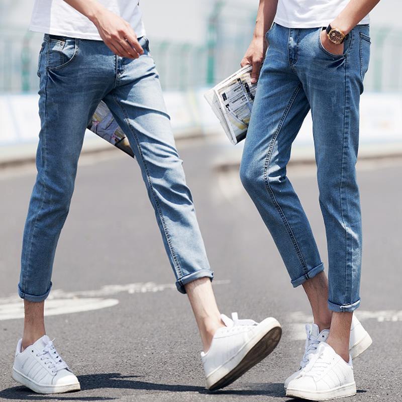 plus size skinny jeans men slim denim pants capris blue cuffs ...