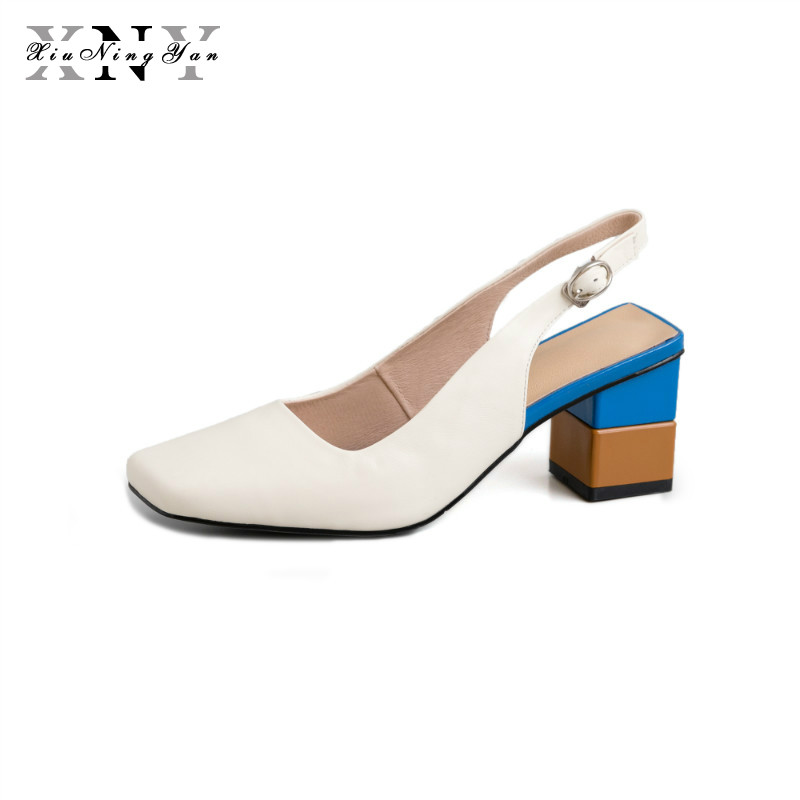 XiuNingYan Shoes All Genuine Leather Sexy Party Lady Sandals Square Toe Pumps Colorful Square Heel Buckle Strap Classics ShoesXiuNingYan Shoes All Genuine Leather Sexy Party Lady Sandals Square Toe Pumps Colorful Square Heel Buckle Strap Classics Shoes