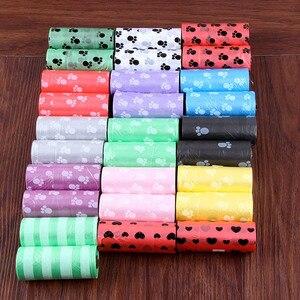 Image 2 - 10ม้วนPawพิมพ์สุนัขPoop 15กระเป๋า/ม้วนขนาดใหญ่ขยะถุงDoggieกลางแจ้งClean Refillถุงขยะ
