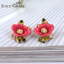 France Petty Fashion Enamel Glaze Pink Colour Flower Diamond Green Leaf Gold-plated Ear Woman 925 Silver Needle Defence Allergy