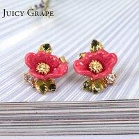 France Petty Fashion Enamel Glaze Pink Colour Flower Diamond Green Leaf Gold Plated Ear Woman 925