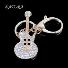 Fashion rhinestone  gold crystal cello pendant quality chic Car key chain ring holder Jewelry  for women.
