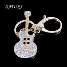 Fashion rhinestone gold crystal cello pendant quality chic Car key chain ring holder Jewelry for women