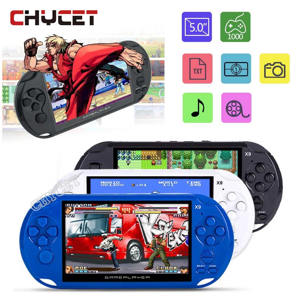 КПК игры игроки 5,0 дюймов Экран Портативный игровой консоли MP3 плеер X9 игры с Камера ТВ из TF видео