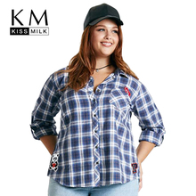 Kissmilk Plus Size New Fashion Women Clothing Basic Streetwear Preppy Style Patched Plaid Shirt Big Blouse 3XL 4XL 5XL 6XL