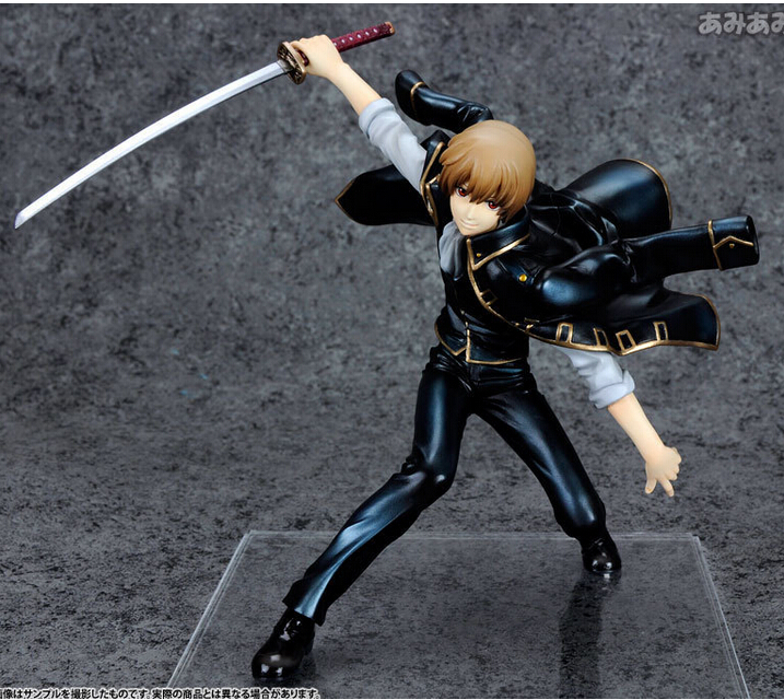 ФОТО 28cm Gintama Sougo Okita 1 8 Silver Soul Action Figures PVC brinquedos Collection toys for christmas gift  box