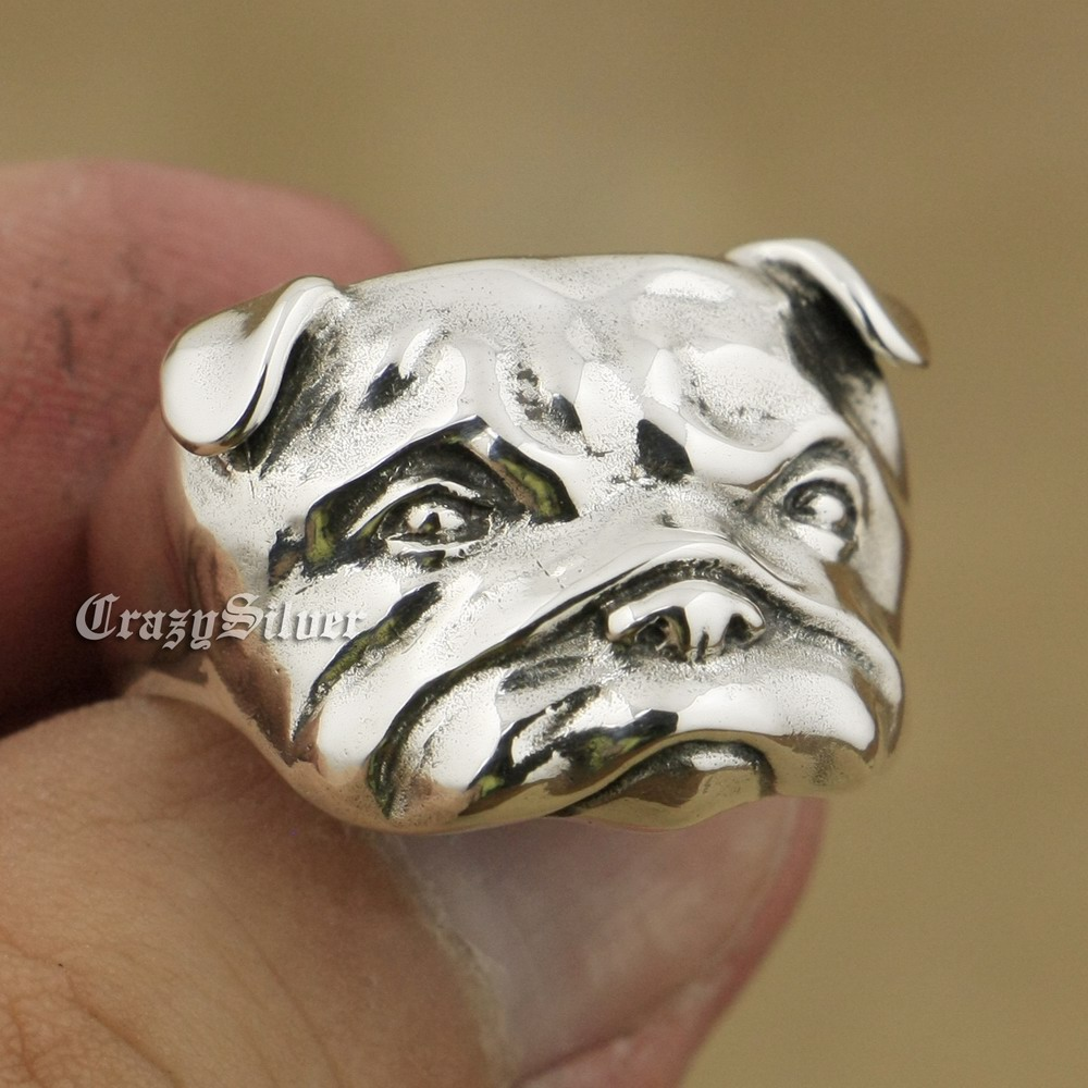 925 Sterling Silver Cute Shar Pei Charms Dog Ring TA33A US 7~15 925 pure silver ring shar pei dog ring bulldog thai silver ring vintage finger ring