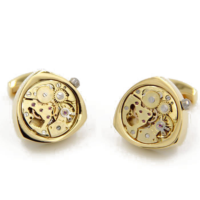 Letpon Watch movement Cufflinks for Mens Triangle Gold color Steampunk Gear Watch Mechanism Cuff links for