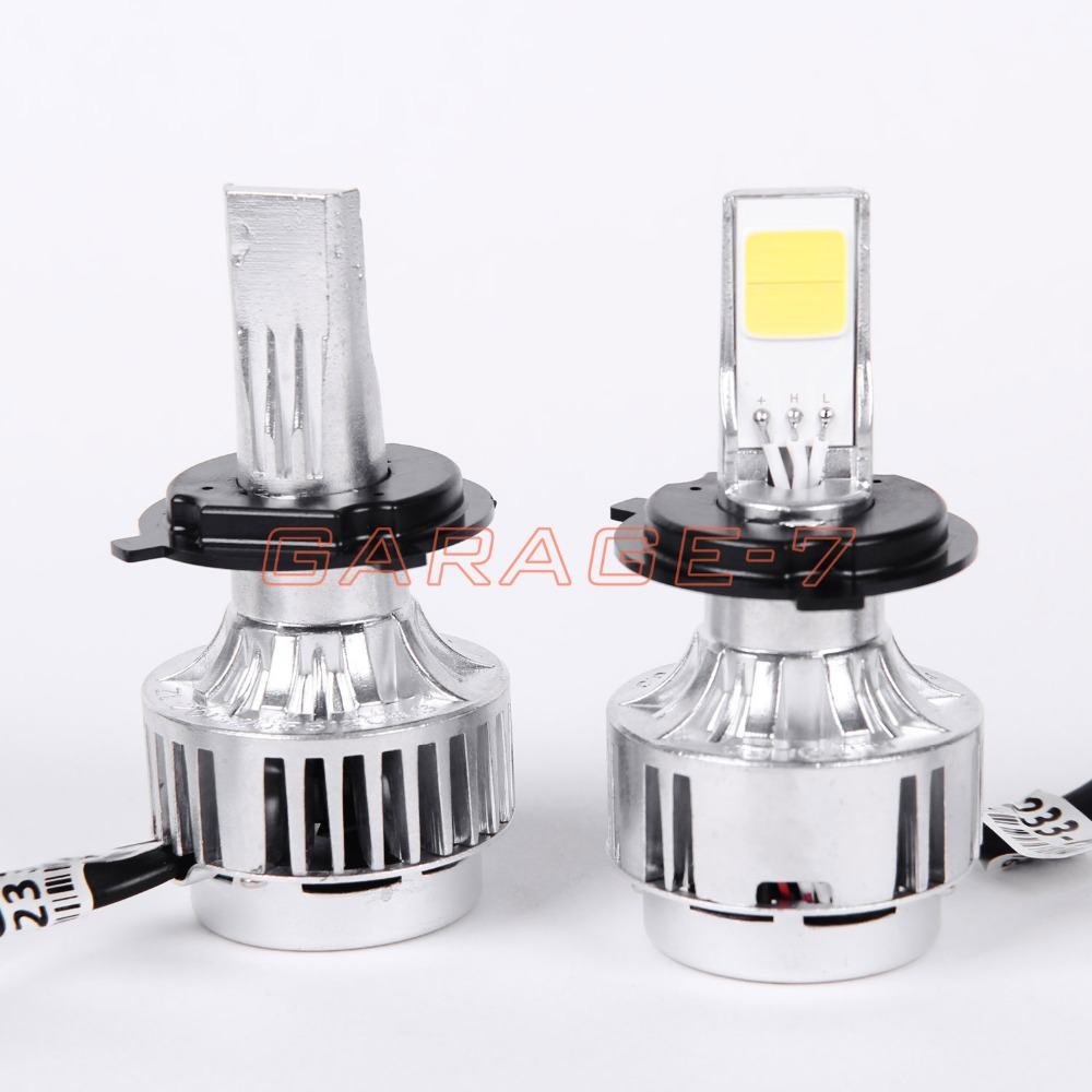 ФОТО A Pair A233 Car LED Headlight Foglight Bulbs All In One H4 H / L Bi-LED Headlight Kit White 12V 3000LM 33W Car Lights Hot Sale