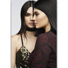 Póster de Arte de seda de belleza de EE. UU., decoración de pared de mimbre, regalo, Kendall & Kylie Jenner, nuevo