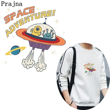Prajna Space Patches For Clothing Planet Alien Robot Heat Transfers Aircraft Thermal Transfer Space Adventure Printed Appliques image