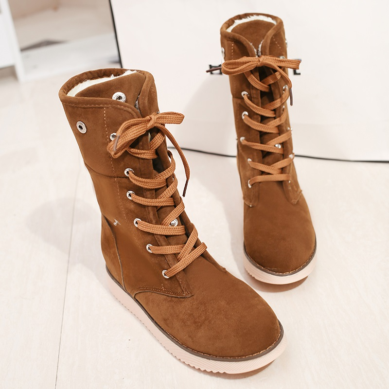 MOSHU Fashion Women Snow Boots Female Suede High Mid Calf Winter Boots Ladies Cross Tied Lace Up Bottes