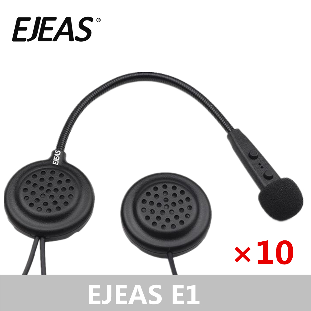 10 Packs EJEAS E1 Bluetooth Motorcycle Helmet Speaker Moto Communication Headset Soft Boomed Microphone Wireless Headset