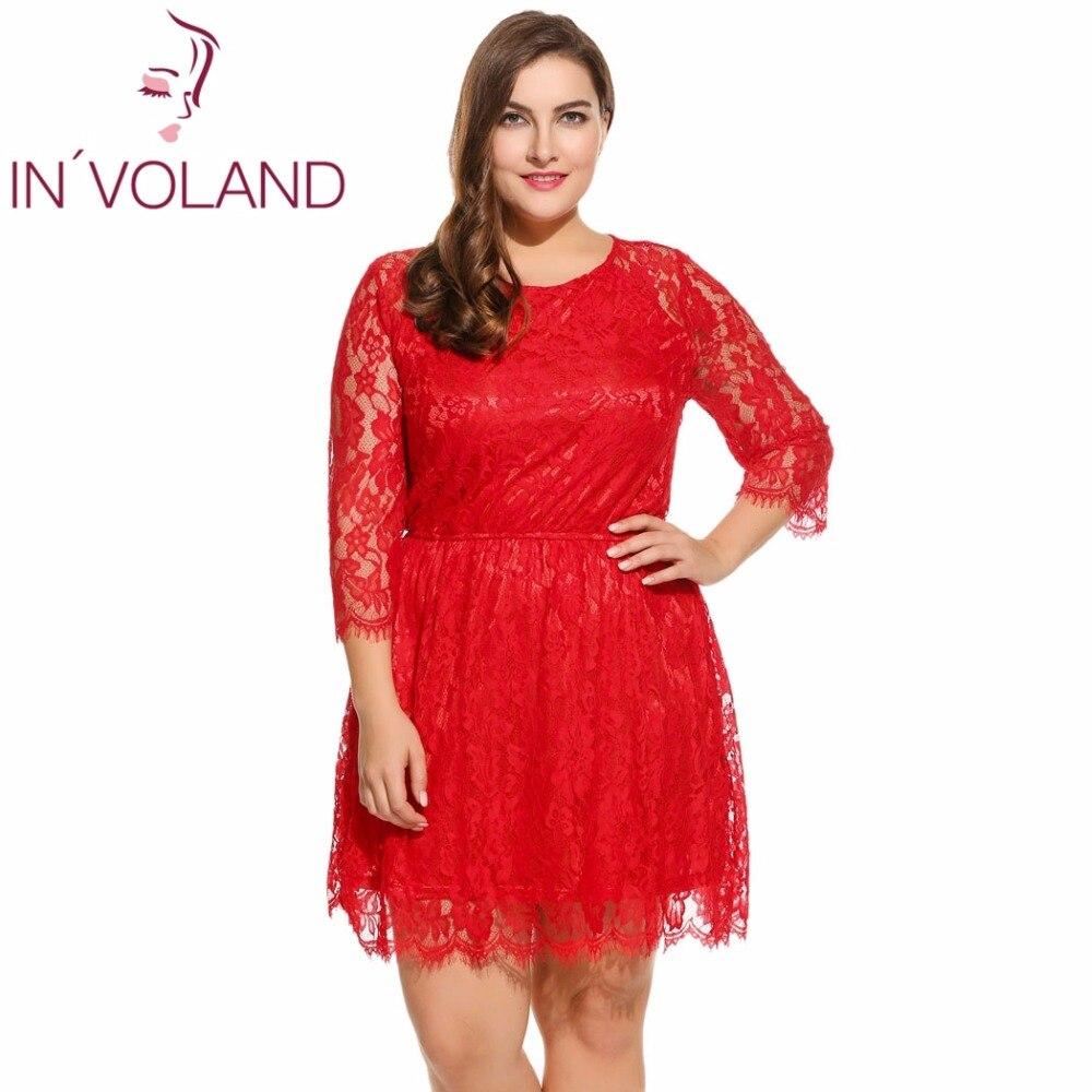 IN'VOLAND Rochie pentru femei Lace Plus Mărime Casual cu maneci - Îmbrăcăminte femei