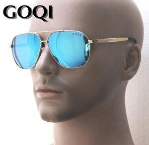 Image 1 - Sibylmerchant GOQI rectangular men 61MM polarized sunglasses ,metal frame classical shape ,big size traveling leisure glasses