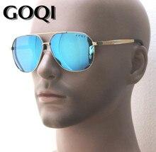 Sibylmerchant goqi retangular masculino 61mm polarizado óculos de sol, armação de metal forma clássica, tamanho grande viajar óculos de lazer