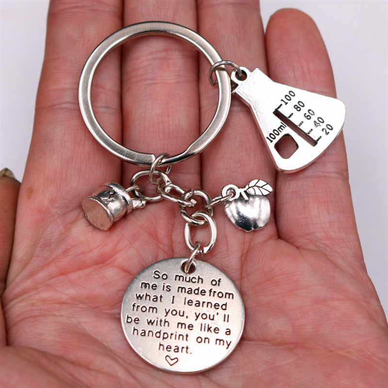 1 pc คุณจะมีฉันเช่น Handprint ของฉันหัวใจขวดขนาดเล็ก Apple DIY โลหะพวงกุญแจ - Tribute เคมีครู