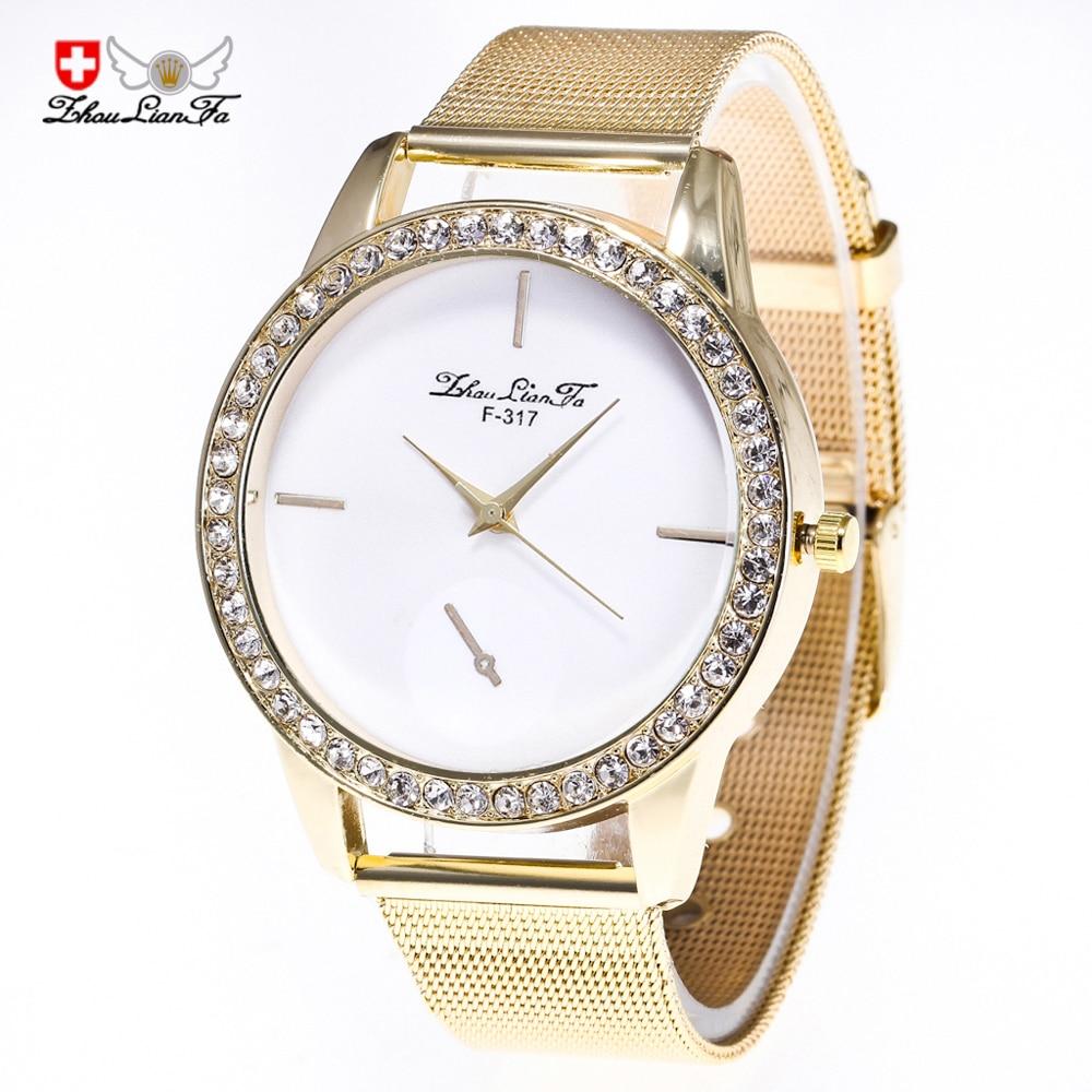 2018 New Diamond Fashion  Watch Gold Mesh With Men Women Watches Watch Men And Ladies Gold Mesh Belt Quartz Wristwatches