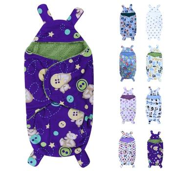 Winter Baby Swaddle Wrap Swaddling Baby Blankets Newborn Infant Towel Soft Short Plush Envelope Swaddling Sleeping Bag