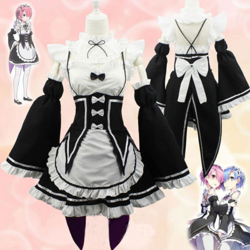 Re:zero Kara Hajimeru Isekai Seikatsu Re Ram/Rem Cosplay  Maid Servant Dress Life In a Different World Kawaii Sisters Costume