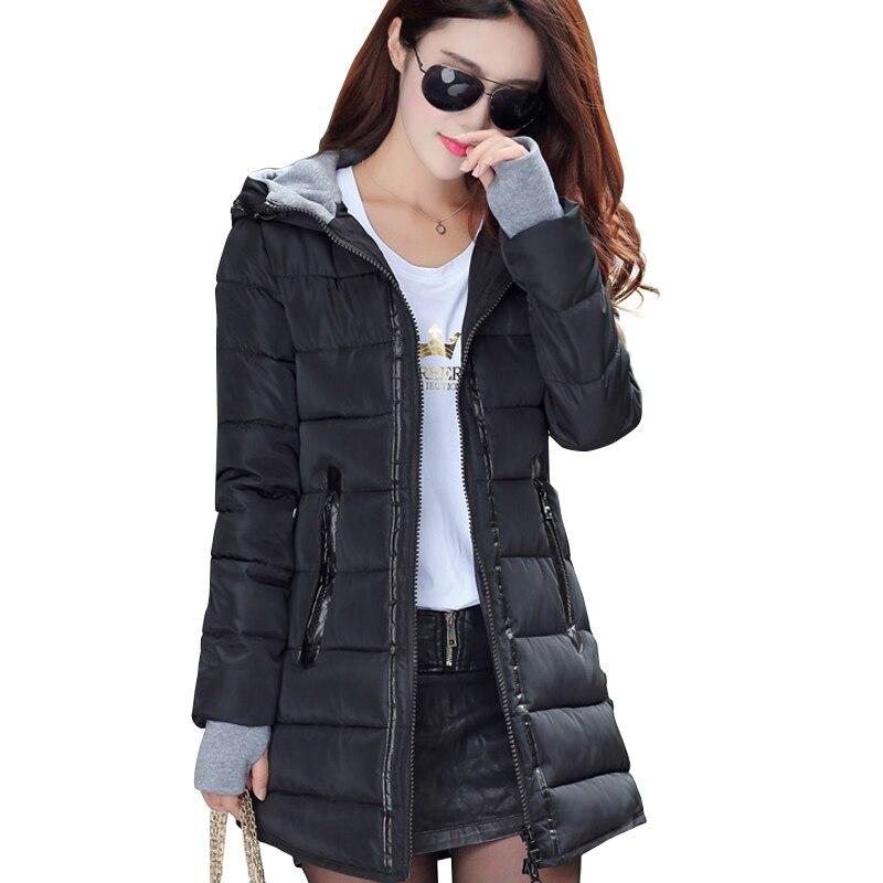 2018 frauen winter mit kapuze warmen mantel schlank plus größe candy farbe baumwolle gepolstert grundlegende jacke weibliche mittel-lange jaqueta feminina