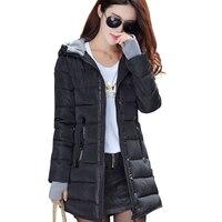 2019 women winter hooded warm coat slim plus size candy color cotton padded basic jacket female medium long jaqueta feminina