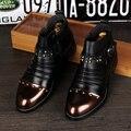 Homens moda festa boate vestido de punk rebites sapatos de couro genuíno martin ankle boots primavera outono Masculinos oxford sapato masculino