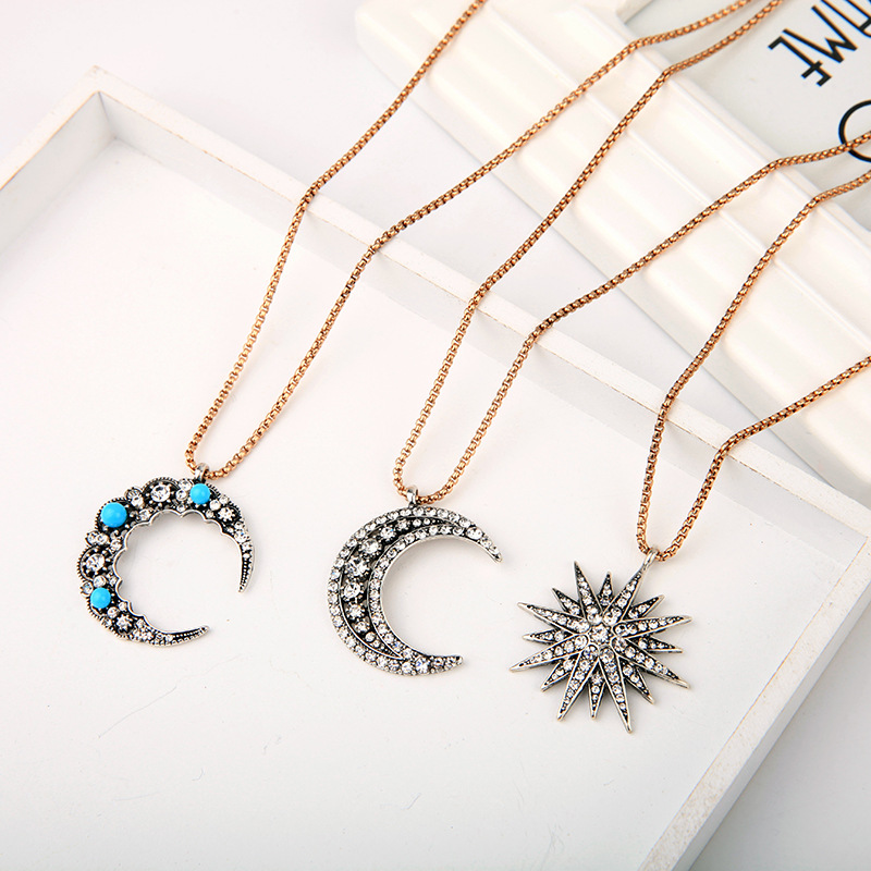 Joolim Jewelry Wholesale Crystal Pave Moon Starburst Pendant Necklace Design Jewelry in Pendant Necklaces from Jewelry Accessories