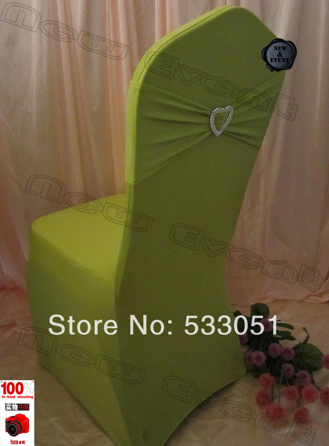 210g/m2 Olive Green Spandex Chair Cover With Lycra Bands And Acrylic Heart  Shape Buckle