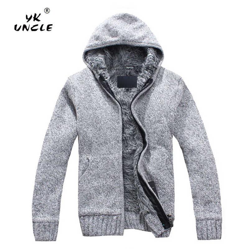 YK UNCLE 2019 весенне-осенний повседневный мужской свитер с капюшоном, пальто из искусственного меха, шерстяной свитер, куртки, мужское трикотажное толстое пальто на молнии m-xxl