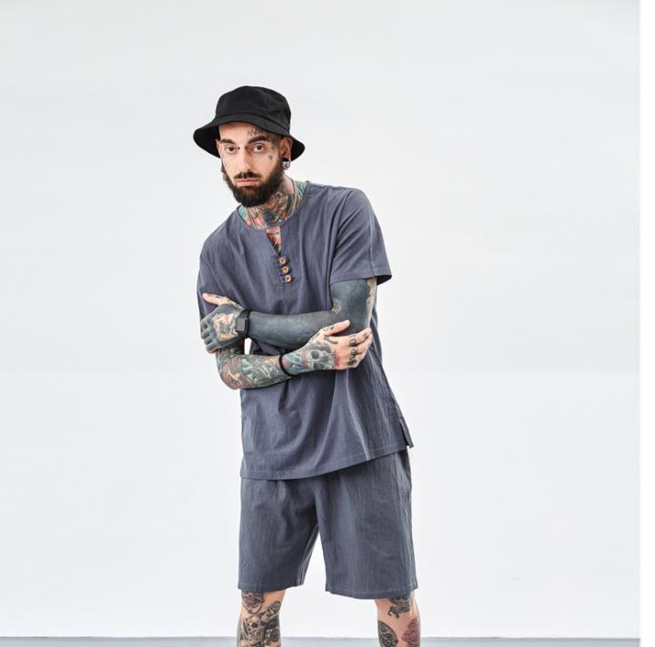 Ensembles gris hommes vêtements 2019 t-shirt t-shirt Grande taille hommes t chemise ensemble M-8XL 9XL t chemise Lin deux -pièce costume t chemises ensembles hiphop