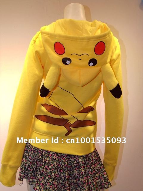 Japan Anime Cool Pokemon Pikachu Hoodie Hoody Cosplay Costume Clothes Yellow