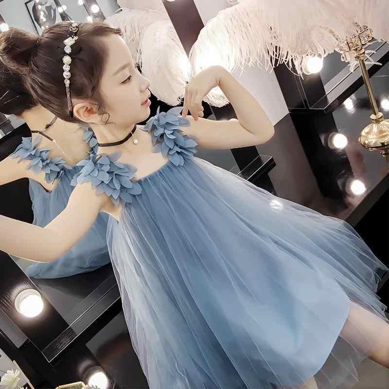 Crianças Meninas Vestido de Verão Vestidos Sem Mangas Para As Crianças Vestido de Tutu de Tule Romper Princesa Sling Roupas Bonitas Meninas 7 8 anos