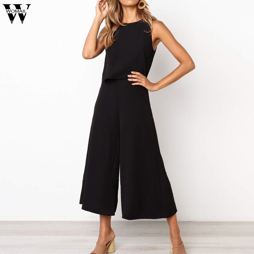 Womail Bodysuit Women Fashion Sleeveless Long Jumpsuit Ladies O Neck Zipper Romper Holiday Solid Wide Leg Playsuit 2019 J613