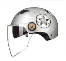 Carro elétrico da motocicleta homens e mulheres capacete capacete verão meio capacete luz capacetes lente dupla anti-ultravioleta protetor solar
