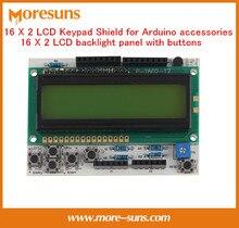 Свободный Корабль 5 ШТ. 16X2 ЖК Клавиатура Щит для Arduino accessories16 X 2 ЖК-панели с подсветкой buttons16x2 зеленый подсветка ЖК-