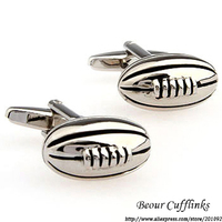 High Quality Men's Jewelry Wedding Cuff Links Silver Metal Oval Cuff Links