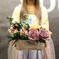 1Set Rose Imitation Old Oval White Iron Sheet Flowerpot Artificial Flowers Vase Wedding Shop Home Decoration Fake Flower 5Color