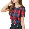 Classic red plaid shirts mujeres 2017 del enrejado del verano camisetas de manga corta slim O neck pullover tees mujeres de moda blusas blusa