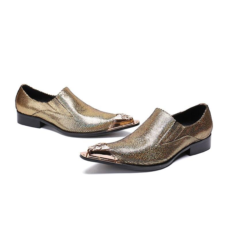 Da Do Vestido Couro On Festa Dourado Metal Moda Formal Homens Luxuoso Flats Dedo Mabaiwan Sapatos Loafers Slip Misturadas Cores De Ouro Calçado Dos Pé 4qwnSF