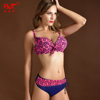 High Quality Sexy Women Bikini Sets Big Size Push Up Breast Swim Suit Retro Print Brazilian
