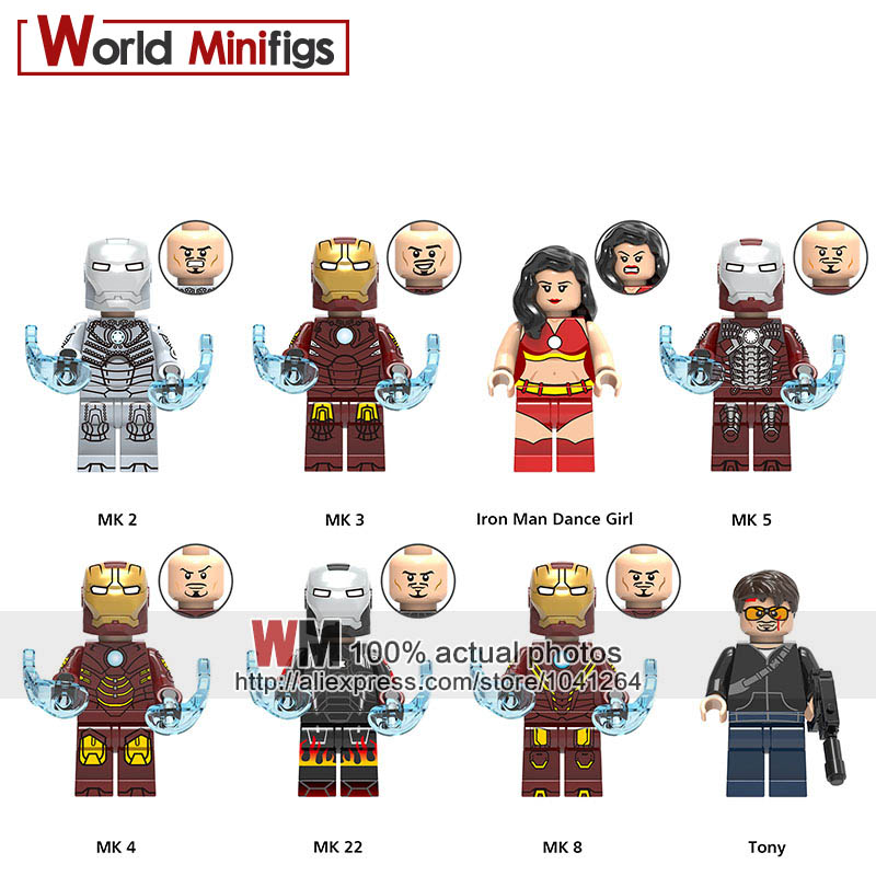 2019 New Style 20pcs/lot Legoings Marvel Iron Man Mk 3 5 22 Racing Armor Helmet Tony Dance Girl Avengers Mini Figure Building Blocks Toys