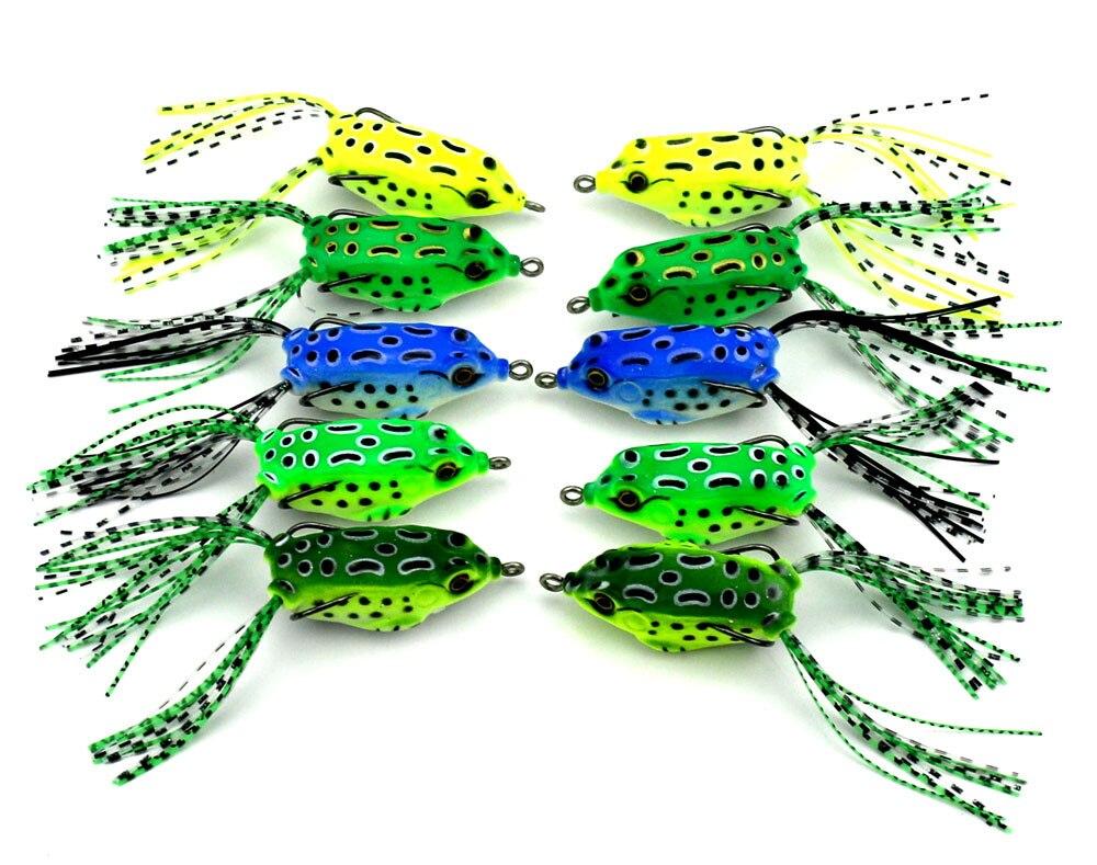 Value C 5PC soft tube bait japan plastic fishing lures frog lure treble hooks Topwater ray frog 5.5CM 8G artificial soft bait