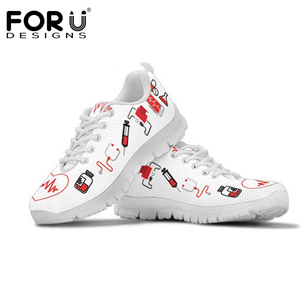 FORUDESIGNS Fashion Flats Shoes Women Nurse Heart Print Women's Casual Shoes Sneakers Mesh Light Lace Up Shoes Tenis Feminino mesh heart patched bralette