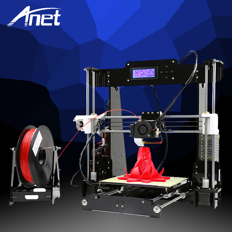 Anet A8 3D Printer High Precision 3D Printer Prusa i3 Reprap DIY Kit Easy Assembly Filament Kit 8GB SD Card Hot Bed LCD Screen black anet a2 reprap prusa i3 3d printer aluminium metal frame lcd display pla 8g sd card as gift fast shipment from moscow