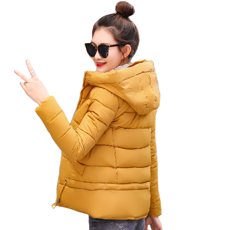 2019 Women Winter   Jacket   Hooded Short Padded Female Coat Autumn Outwear Casual Womens   Basic     Jacket   Casaco Feminino Inverno