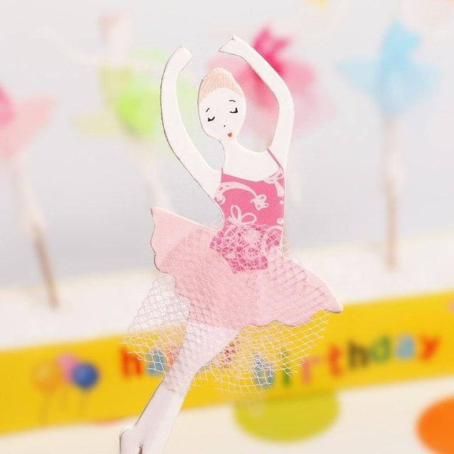 Décoration de gâteaux pour filles 72 pièces/lot | Drapeau de gâteau en dentelle, Design de Ballet danseuse pour filles, outils de décoration pour fête danniversaire pour enfants, décor de mariage
