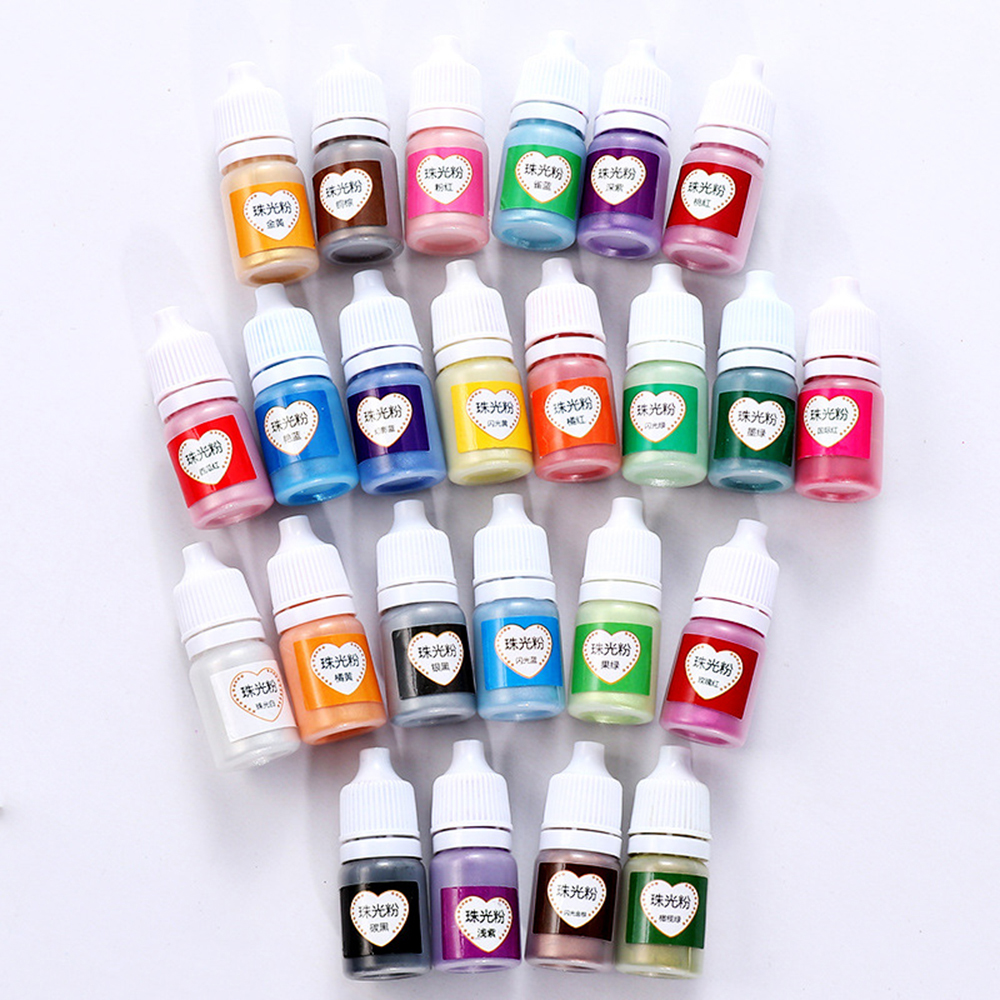 1pc 24-Colour 5ml Pearlescent Mica Pigment Powder Rainbow UV Resin Epoxy For Jewelry Cutting Dies Paper Decor DIY Crafts